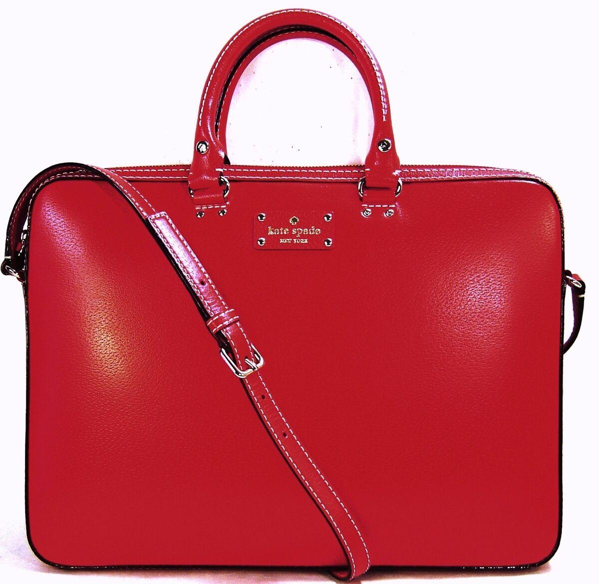 Kate Spade Tanner Wellesley Computer Laptop Bag Brief Case $448 Geranium Red