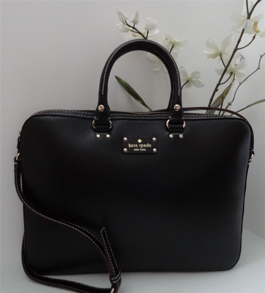 KATE SPADE Wellesley Black Leather TANNER Computer Case Laptop Bag NWT