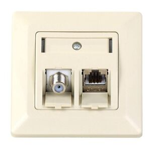 keystone netzwerk dose mit cat6a rj45 lan modul antenne sat f buchse modul ebay. Black Bedroom Furniture Sets. Home Design Ideas