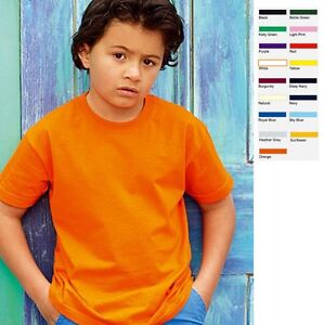 KINDER-KIDS-T-SHIRT-FRUIT-OF-THE-LOOM-VALUE-VALUEWEIGHT-16-FARBEN-GROssE-104-164