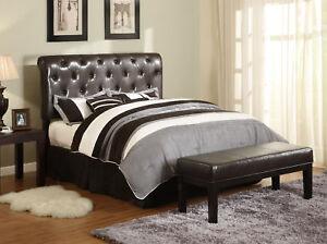 Leather King Size Headboard on King Size Tufted Leather Headboard W  Frame   Espresso   Ebay