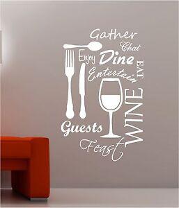Kitchen word cloud vinyl wall art quote sticker dining for Dining room vinyl wall art