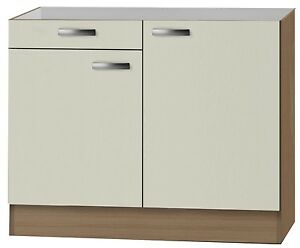 klassik60 sp lenschrank 100cm breit mit schublade creme splso106 ebay. Black Bedroom Furniture Sets. Home Design Ideas