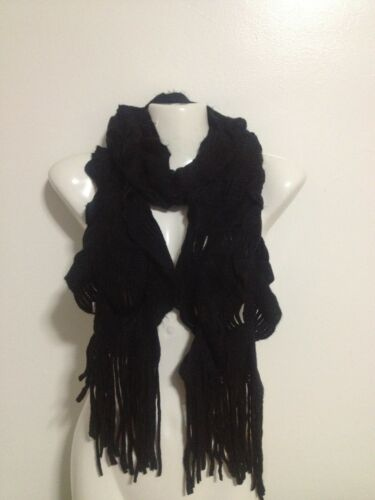 KNIT RUFFLED STYLE SCARF COLOR BLACK, POPULAR WINTER ITEM WARM in Clothing, Shoes & Accessories, Women's Accessories, Scarves & Wraps | eBay