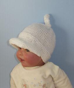 KNITTING INSTRUCTIONS BABY PEAK CAP TOPKNOT BEANIE HAT KNITTING