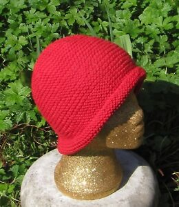 KNITTING PATTERN ONLY-SIMPLE GARTER ST ROLL BRIM BEANIE HAT KNITTING
