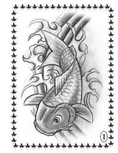 Koi Fish Tattoo Flash Japanese Style Art Sketch Book | eBay