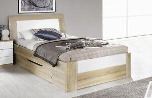 komfortbett seniorenbett bett 100x200 cm schlafzimmer eiche weiss hochglanz neu ebay. Black Bedroom Furniture Sets. Home Design Ideas