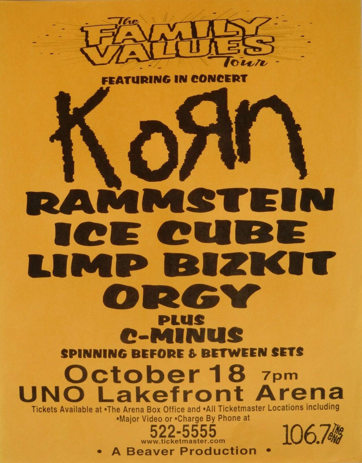 korn rammstein ice cube limp bizkit 2006 new orleans concert tour poster ebay. Black Bedroom Furniture Sets. Home Design Ideas