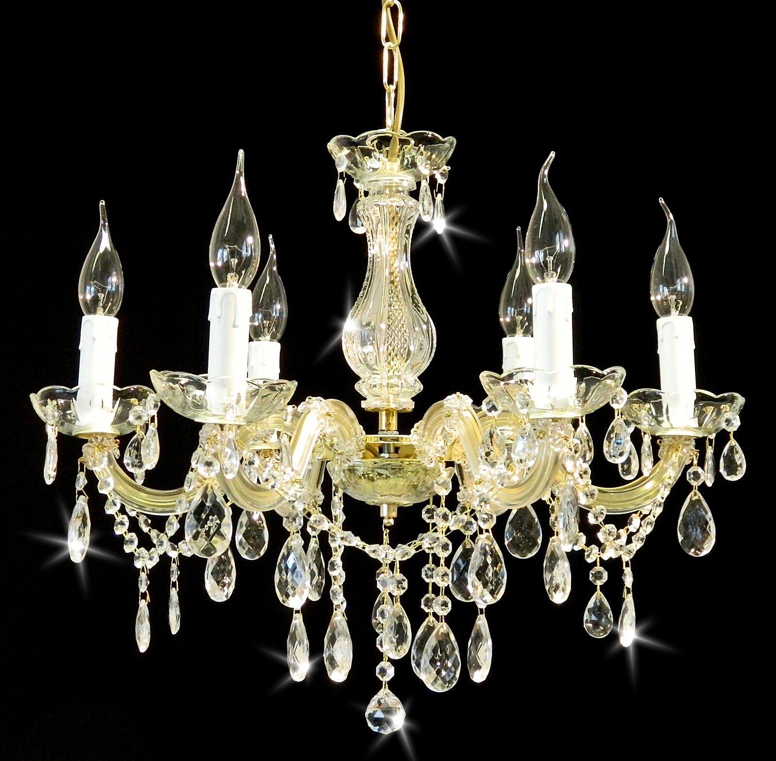 kristall kronleuchter l ster 6 leuchten 60cm uvp399 kaufen sie bestpreis ebay. Black Bedroom Furniture Sets. Home Design Ideas