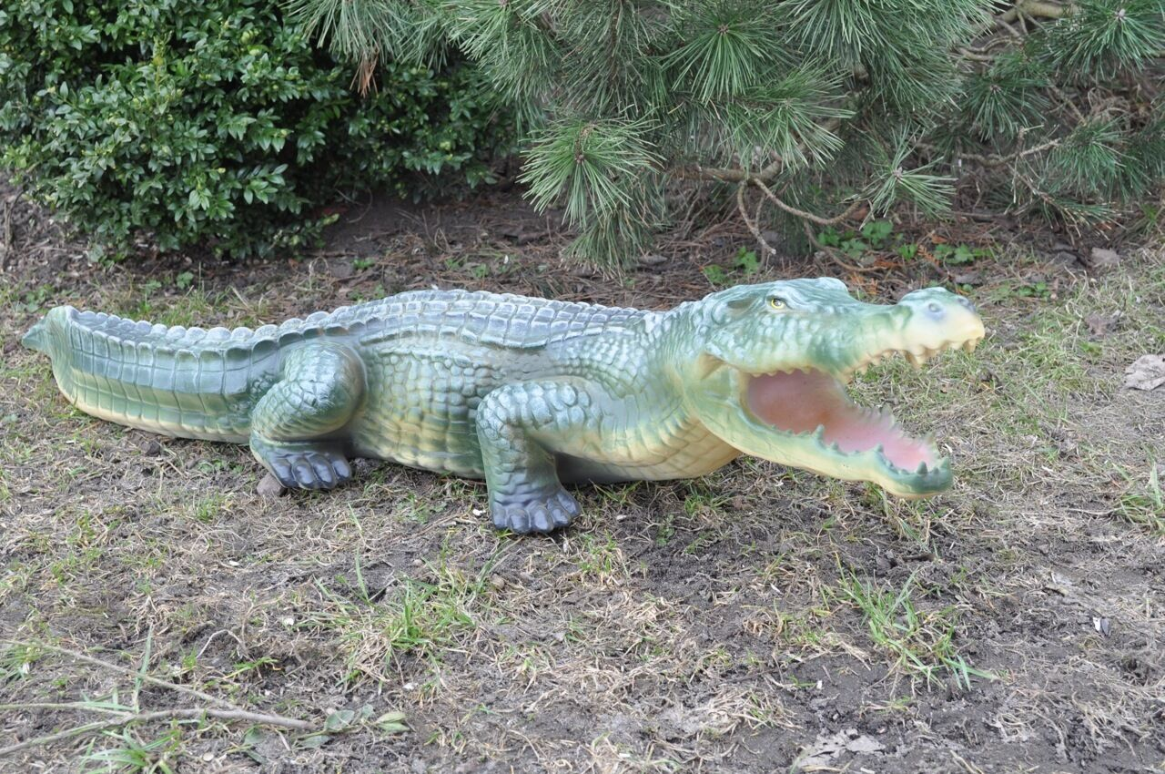 krokodil alligator figur garten teich deko gartenfigur 120 cm lang ebay. Black Bedroom Furniture Sets. Home Design Ideas