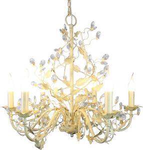 kronleuchter 39 evita 39 weiss 6 flammig 60cm deckenlampe metall kristalle bl tter ebay. Black Bedroom Furniture Sets. Home Design Ideas