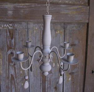 kronleuchter l ster f r kerzen antik landhausstil leuchter holz metall neu ebay. Black Bedroom Furniture Sets. Home Design Ideas