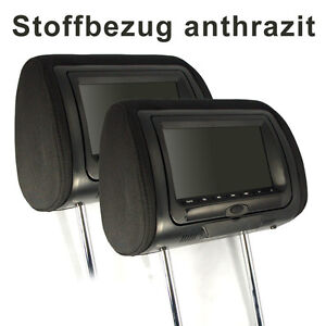 KS7DK-fuer-BMW-2x-7-digital-LCD-TFT-Kopfstuetzen-Monitor-mit-DVD-Anthrazit-Stoff