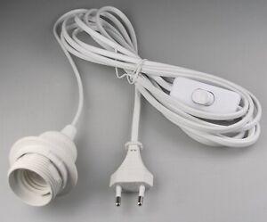 kabel mit fassung lampenfassung wei e27 3 5m zuleitung schalter ebay. Black Bedroom Furniture Sets. Home Design Ideas