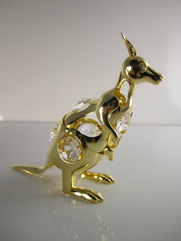 Känguru mit Swarowski Kristallen Bestückt Gold Plattiert
