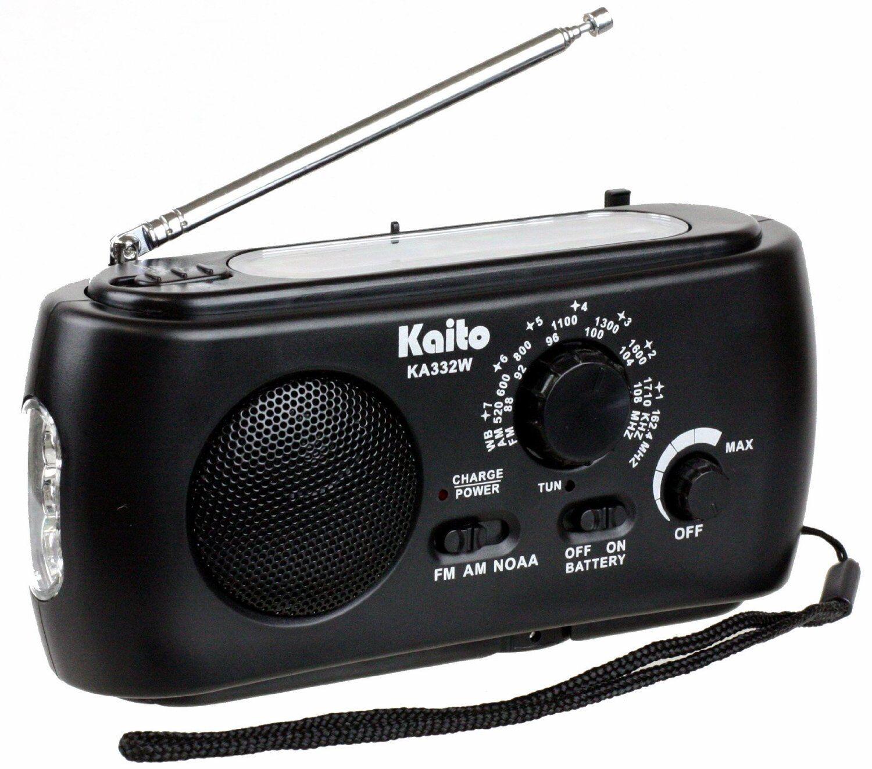 Kaito KA332W Emergency Solar Hand Crank AM/FM Weather Radio with Flashlight Black at Sears.com