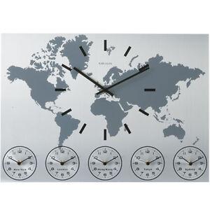 karlsson aluminium world time zone wall clock ebay