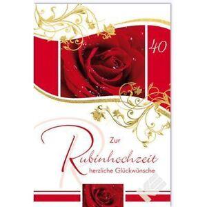 Karte Rubinhochzeit 40. Hochzeitstag   eBay
