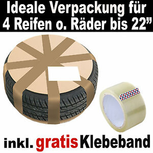 karton verpackung f r 4 felgen mit reifen bis 22 zoll ebay. Black Bedroom Furniture Sets. Home Design Ideas