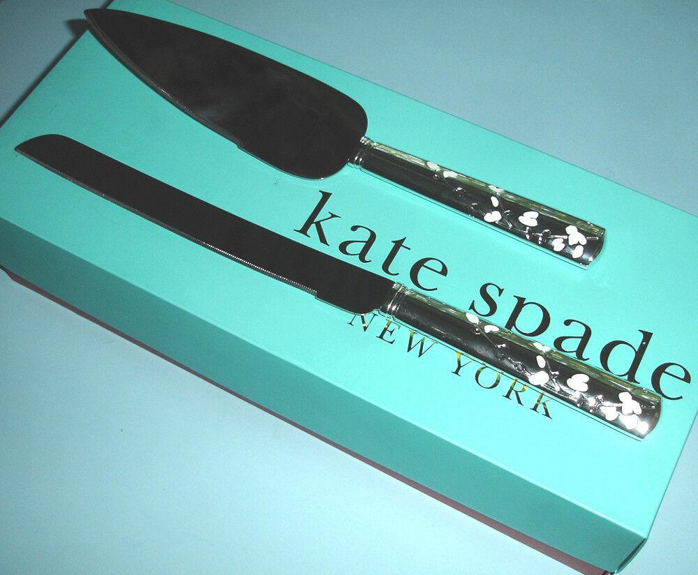 Kate Spade Gardner Street 2 PC Dessert Set Cake Knife Server Silverplated New