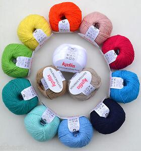 katia cotton stretch baumwolle baumwollgarn wolle zum stricken h keln h kelgarn ebay. Black Bedroom Furniture Sets. Home Design Ideas