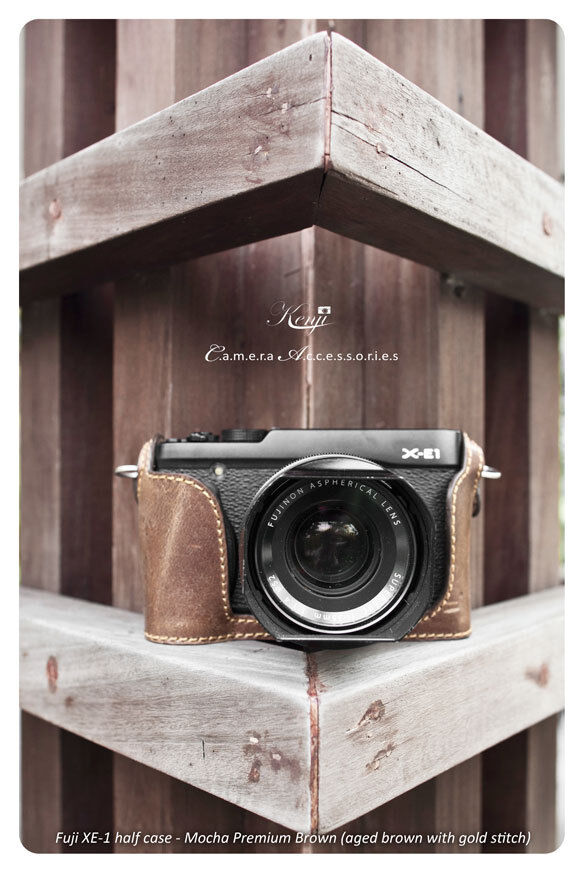 Kenji Café Mocha (Premium Aged Brown Leather) Hard Cover for Fujifilm X-E1