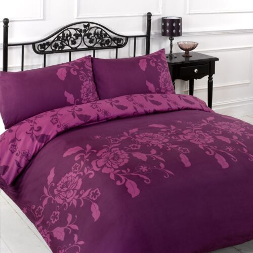 kensignton duvet quilt cover and pillow cases set black white red plum ebay. Black Bedroom Furniture Sets. Home Design Ideas