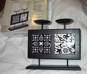 kerzenhalter schwarzes holz von hand bemalte keramiktafel. Black Bedroom Furniture Sets. Home Design Ideas