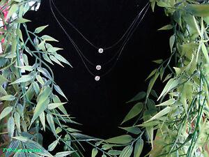 kette collier schwebender stein 3 reihig zirkonia nylon neu l nge ca 49 cm ebay. Black Bedroom Furniture Sets. Home Design Ideas