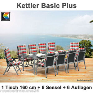 kettler basic plus gartenm bel 1 gartentisch 160 cm 6 klappsessel 6 auflagen ebay. Black Bedroom Furniture Sets. Home Design Ideas
