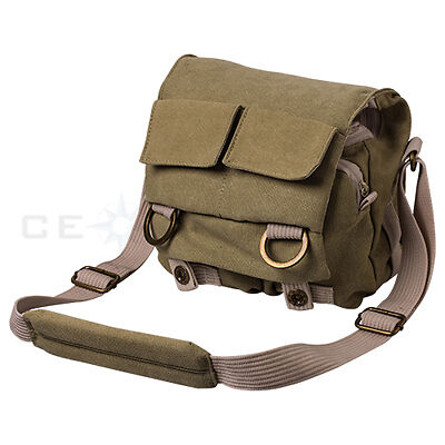 Khaki Green Canvas Shoulder Outdoor Camera Bag For Canon Nikon Sony DSLR Camera in Cameras & Photo, Camera & Photo Accessories, Cases, Bags & Covers | eBay