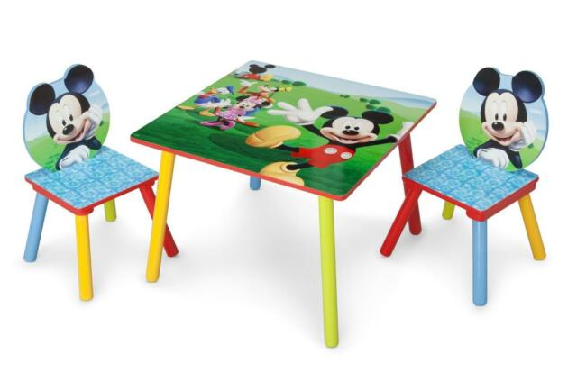kids table and chair set mickey mouse wood children toddler play eat furniture - Toddler Wooden Table And Chairs
