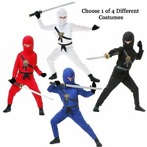 kind krieger ninjas rot blau schwarz wei ninja assassin anzug halloween kost m ebay. Black Bedroom Furniture Sets. Home Design Ideas
