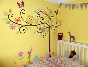 kinder kinderzimmer wandtattoo aufkleber v gel baum eule wandaufkleber 155 x 125 ebay. Black Bedroom Furniture Sets. Home Design Ideas