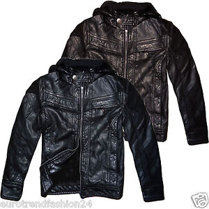 kinder kunst lederjacke mit fell gef ttert bergangs windbreaker jacke ebay. Black Bedroom Furniture Sets. Home Design Ideas