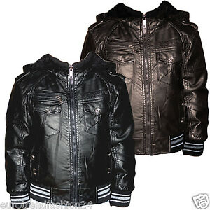 kinder kunst lederjacke mit fell gef ttert bergangs windbreaker jacke junge ebay. Black Bedroom Furniture Sets. Home Design Ideas