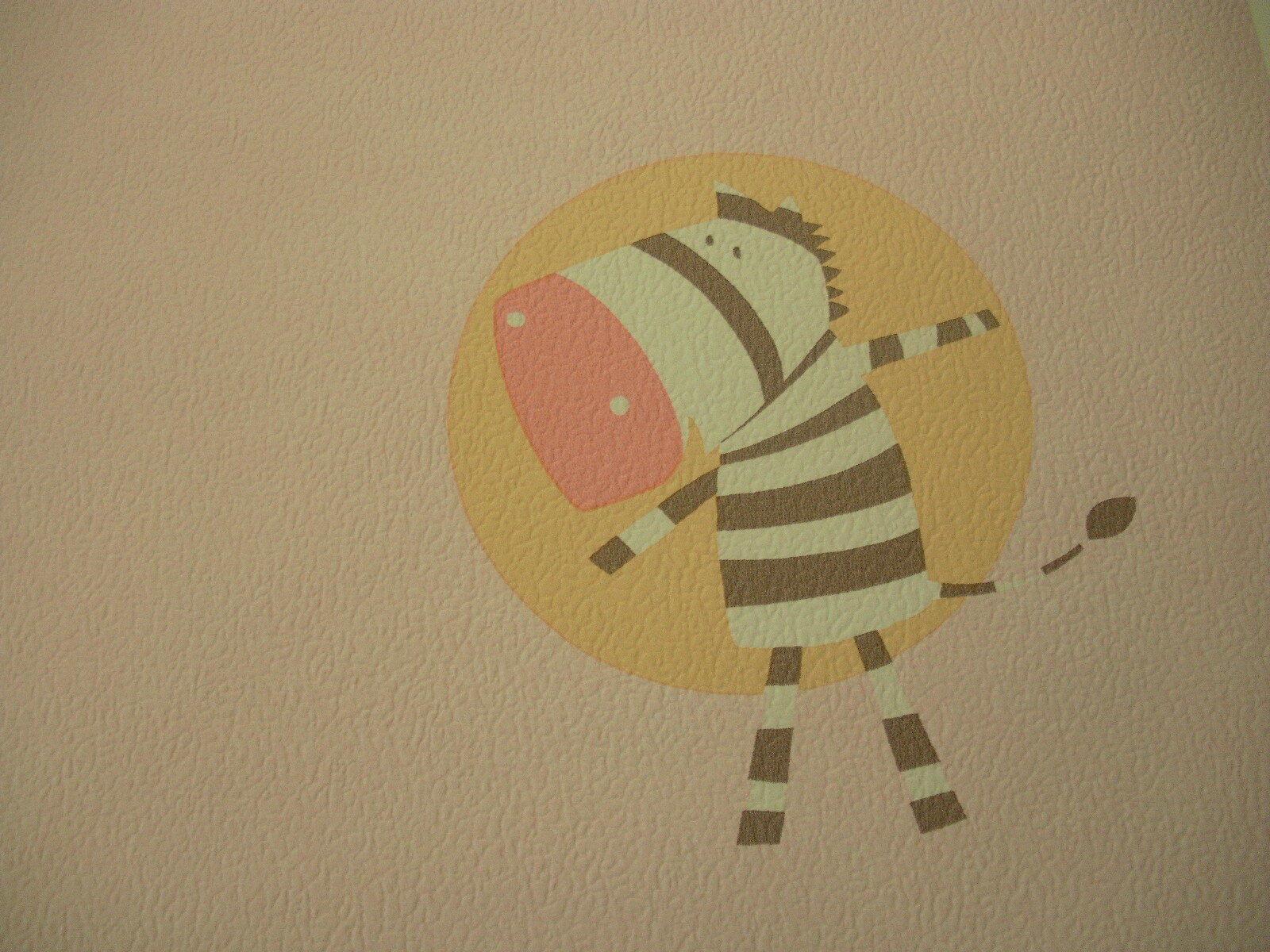 Kinder Tapete  Bärchen Zebra Giraffe  , rosa ,