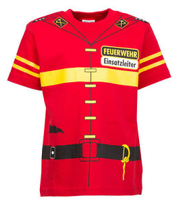 Kinder-Uniform-T-Shirt-Feuerwehr-92-98-bis-140-146
