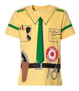 Kinder-Uniform-T-Shirt-Polizei-gelb-92-98-bis-140-146