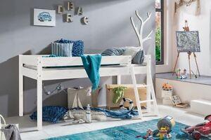 kinderbett hochbett bett laura mit leiter und rollrost kiefer massiv weiss ebay. Black Bedroom Furniture Sets. Home Design Ideas