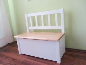 kindersitzbank kinderbank sitzbank holzbank bank truhe massivholz natur weiss ebay. Black Bedroom Furniture Sets. Home Design Ideas