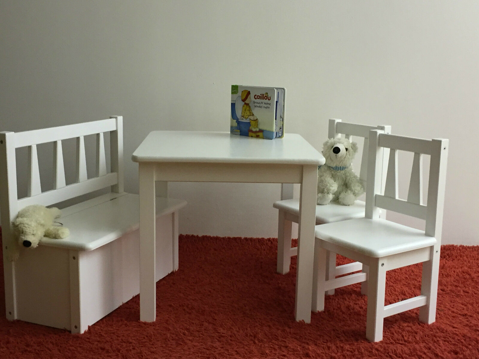 kindersitzgruppe kindertisch mit st hlen kindersitzbank kinder wei massivholz ebay. Black Bedroom Furniture Sets. Home Design Ideas