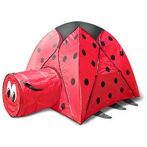 kinderzelt mit tunnel spielzelt krabbeltunnel zelt kinderhaus marienk fer dg81 ebay. Black Bedroom Furniture Sets. Home Design Ideas