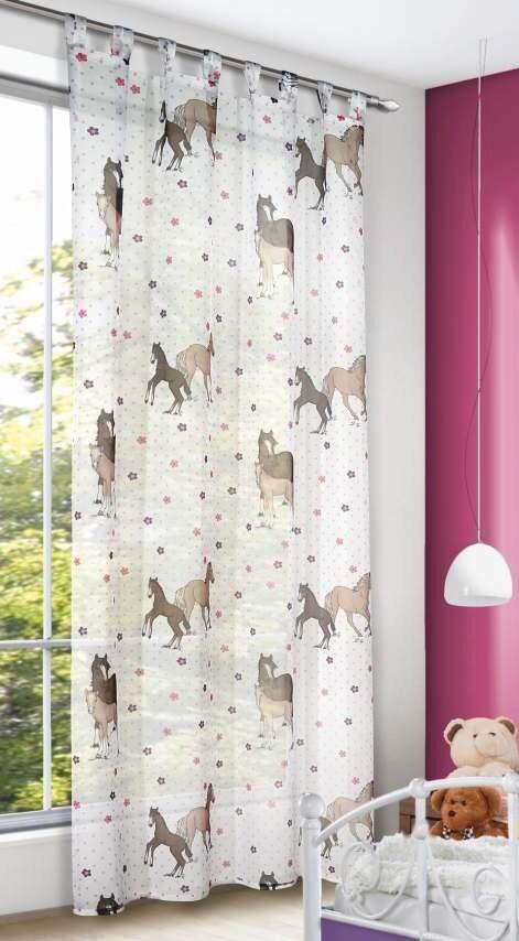 schlaufenschal kinderzimmer gardine pferde 140x245cm vorhang schlaufen kinder ebay. Black Bedroom Furniture Sets. Home Design Ideas