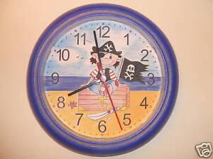 kinderzimmer uhr wanduhr kinder deko pirat piraten neu ebay. Black Bedroom Furniture Sets. Home Design Ideas