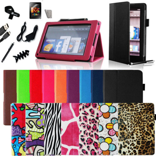 Kindle Fire PU leather Folio Case Cover/Car Charger/USB Cable/Stylus/Protector in Computers/Tablets & Networking, iPad/Tablet/eBook Accessories, Cases, Covers, Keyboard Folios | eBay