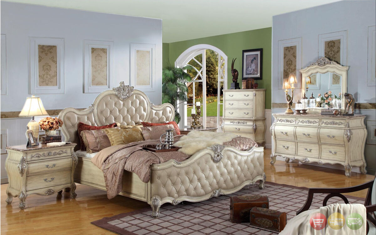 King Antique White Tufted Leather Bed 5pc Traditional Bedroom Set W Marble Tops Ebay