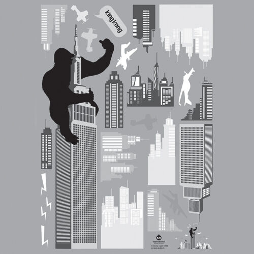 King Kong New York Easy Instant Art Home Decor Wall Sticker Decal Sheet in Home & Garden, Home Decor, Decals, Stickers & Vinyl Art | eBay