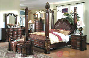 King Poster Canopy Bed Marble top Bedroom Furniture Set